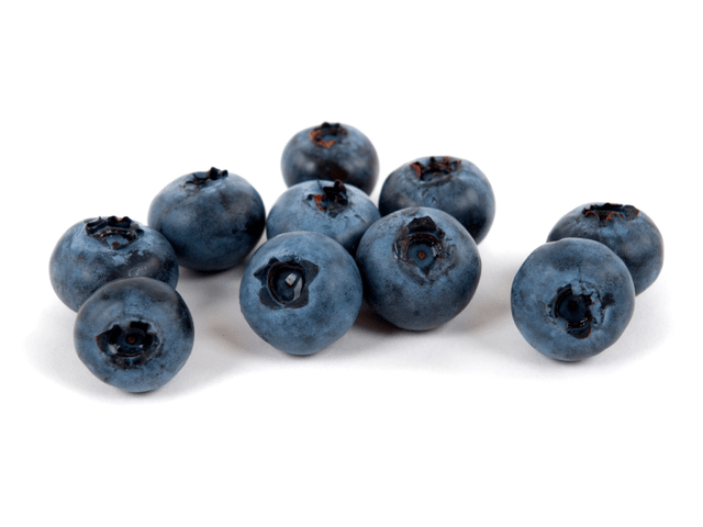 A few mid-sized clean blueberries on white background